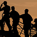 Crewmen Salute The American Flag Poster by Stocktrek Images