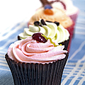 Cupcakes on tablecloth Poster by Jane Rix