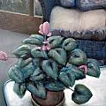 Cyclamen and Wicker by Michelle Calkins