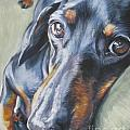 Dachshund black and tan Poster by L A Shepard