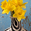 Daffodils in Wide Striped Vase Print by Garry Gay