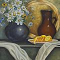 Daisy Stillife With Oranges Poster by Ann Arensmeyer