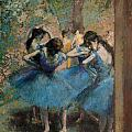 Dancers in blue Print by Edgar Degas
