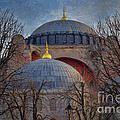 Dawn over Hagia Sophia Print by Joan Carroll