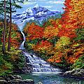Deep Falls in Autumn Poster by David Lloyd Glover