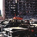 Destroyed Automobiles Near The Bombed Poster by Everett
