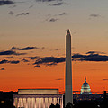 Digital Liquid -  Monuments at Sunrise Print by Metro DC Photography