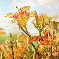 Digital painting of orange daylilies Print by Sandra Cunningham