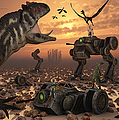 Dinosaurs And Robots Fight A War Poster by Mark Stevenson
