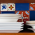 Dishes in Front of Colorful Tile Poster by Thom Gourley/Flatbread Images, LLC