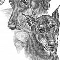 Dober-Friends - Doberman Pinscher Dogs Portrait Poster by Kelli Swan