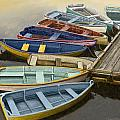 Dock with Colorful Boats Print by Dennis Orlando