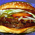Double Whopper With Cheese And The Works - v2 - Painterly - Purple Print by Wingsdomain Art and Photography
