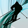 Downhill Skiing on Icy Ribbons Print by Elaine Plesser