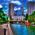 Downtown Indianapolis Canal Poster by David Haskett