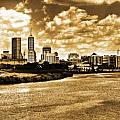 Downtown Indianapolis Skyline Dark Toned Poster by David Haskett