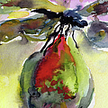 Dragonfly on Flower Bud Watercolor Print by Ginette Fine Art LLC Ginette Callaway
