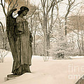 Dreamy Angel Monument Surreal Sepia Nature Print by Kathy Fornal