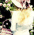 Dreamy Cottage Chic Girl Holding Basket Roses Poster by Kathy Fornal