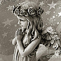 Dreamy Little Girl Angel With Praying Hands  Print by Kathy Fornal