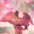 Dreamy Whimsical Pink Angel Wings With Hearts Print by Kathy Fornal
