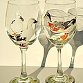 Ducks on Wineglasses Poster by Pauline Ross