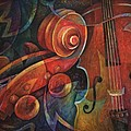 Dynamic Duo - Cello and Scroll Print by Susanne Clark