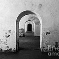 El Morro Fort Barracks Arched Doorways San Juan Puerto Rico Prints Black and White Print by Shawn O'Brien