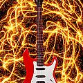 Electric guitar with sparks Print by Garry Gay