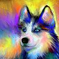 Electric Siberian Husky dog painting Print by Svetlana Novikova
