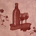 Enjoying Red Wine  painting with red wine Poster by Georgeta  Blanaru