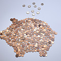 Euro Coins Falling Into A Piggy Bank Made From Arranged European Coins Print by Larry Washburn