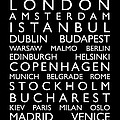 Europe Cities Bus Roll Poster by Michael Tompsett