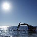 Excavator Digging in the Ocean Poster by Skip Nall