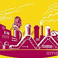 Factory Building Power Plant Retro Print by Aloysius Patrimonio