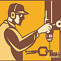 Factory Worker Operator With Drill Press Retro Poster by Aloysius Patrimonio