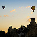Fairy chimneys and balloons Poster by RicardMN Photography