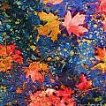 Falling Blue Leave Print by Marilyn Sholin