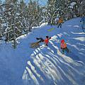 Falling off the Sledge Print by Andrew Macara