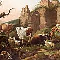 Farm animals in a landscape Print by Johann Heinrich Roos