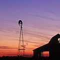 Farm at Sunset Print by David Davis and Photo Researchers