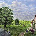 Farm By The Stream Print by RONALD HABER