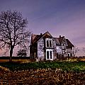 Farm House at night Poster by Cale Best