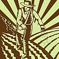 Farmer sowing seeds  Poster by Aloysius Patrimonio