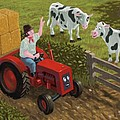 farmer visiting cows in field Print by Martin Davey