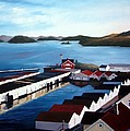 Farsund Boathouses Poster by Janet King