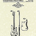 Fender Bass Guitar 1960 Patent Art Poster by Prior Art Design