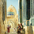 Figures in a Street Before a Mosque Print by Richard Karlovich Zommer