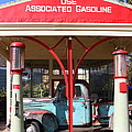 Filling Up The Old Ford Jalopy At The Associated Gasoline Station . Nostalgia . 7D12884 Print by Wingsdomain Art and Photography