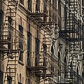 Fire Escapes On Brownstone Apartment Poster by Everett